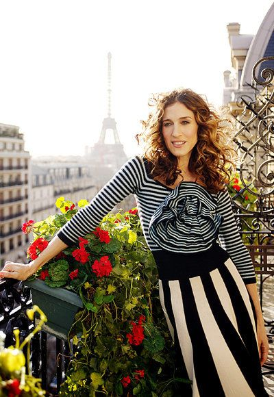 Season 6: A stylish clash of stripes made this outfit one of Carrie's finest Paris moments.