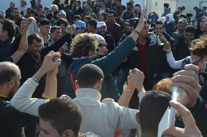 Refugees and migrants danced as musicians performed in the Idomeni camp.
