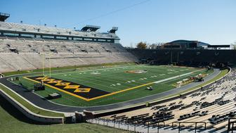 COLUMBIA, MO - NOVEMBER 10: The playing field of Memorial Stadium at Faurot Field is seen prior to practice on November 10, 2015 in Columbia, Missouri. The university looks to get things back to normal after the recent protests on campus that lead to the resignation of the school's President and Chancellor on November 9. (Photo by Michael B. Thomas/Getty Images)