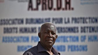 A picture taken on March 19, 2015 shows president of the Association for the Protection of Human Rights and Detainees A.P.R.O.D.H, Pierre Claver Mbonimpa, posing in Bujumbura. Police in Burundi on April 27 arrested leading human rights activist Pierre-Claver Mbonimpa, his lawyer said, after violent protests against President Pierre Nkurunziza's bid for a third term in power. AFP PHOTO / CARL DE SOUZA        (Photo credit should read CARL DE SOUZA/AFP/Getty Images)