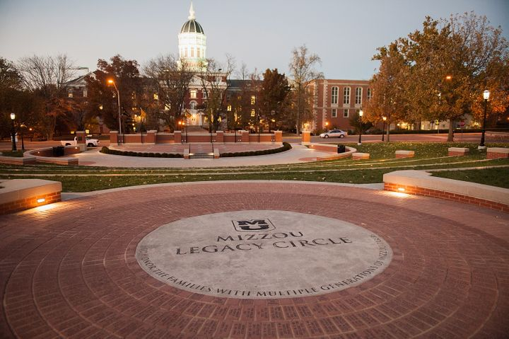 Mizzou Legacy Circle is seen on the campus of University of Missouri in Columbia, Missouri. The campus was deserted on W
