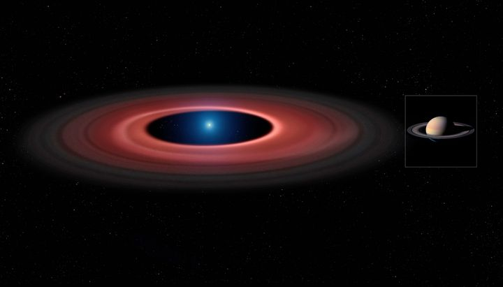 An artist's impression of the debris disc around the white dwarf star(on left) compared to Saturn and its rings (on rig