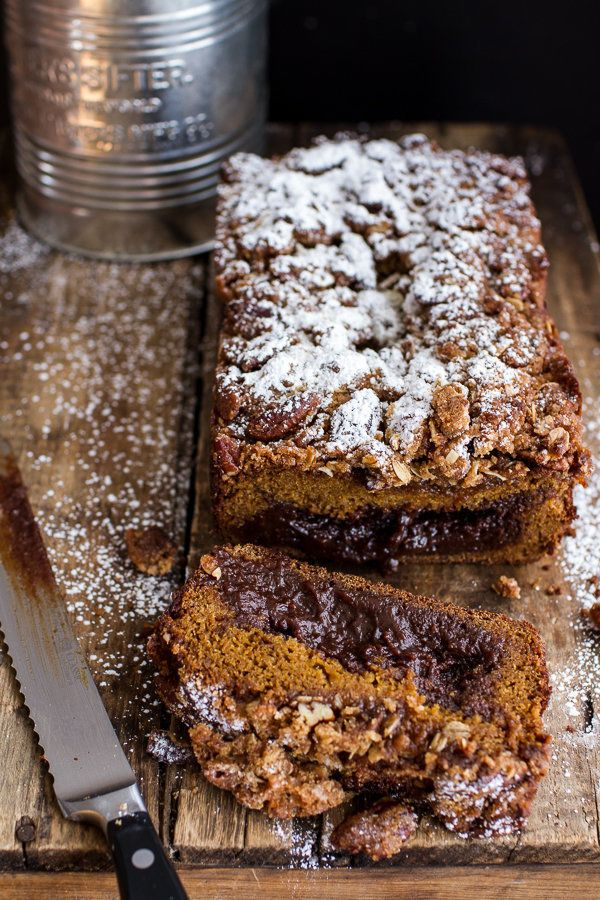 "<strong>Get the <a href=""http://www.halfbakedharvest.com/molten-chocolate-pumpkin-streusel-bread-heavy-chocolate-streusel/"" t"