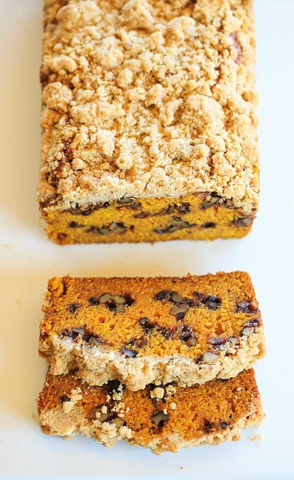 "<strong>Get the <a href=""http://www.browneyedbaker.com/pumpkin-crumb-bread/"" target=""_blank"">Pumpkin Bread with Cinnamon-Mapl"