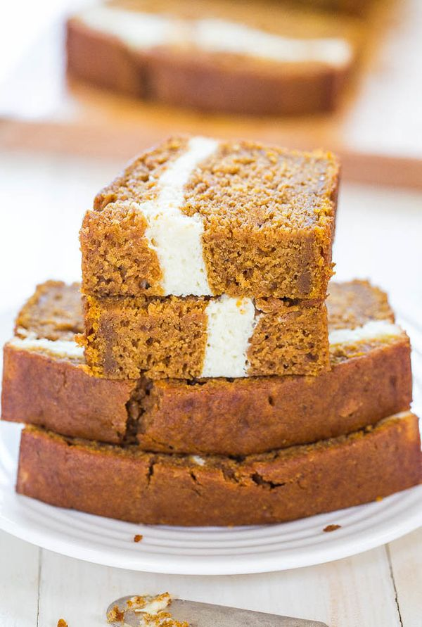"<strong>Get the <a href=""http://www.averiecooks.com/2014/08/cream-cheese-filled-pumpkin-bread.html"" target=""_blank"">Cream-Che"