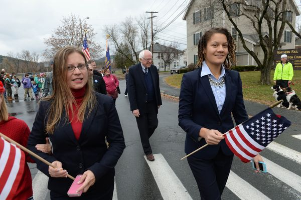 Democratic presidential candidate Bernie Sanders (I-Vt.) marches in the Veterans Day Parade in Lebanon, New Hampshire.&n