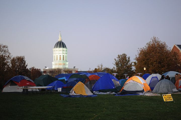 Protesters' tents remain on the campus of the University of Missouri on Nov. 9, 2015, in Columbia, Missouri.