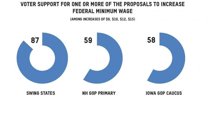 Polling data that shows voter support for one or more of the proposals to increase the minimum wage.