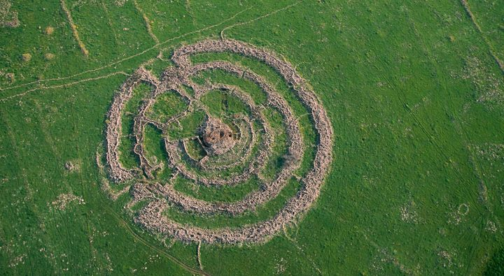 Rujm el-Hiri, a mysterious 5,000-year-old stone formation in the Golan Heights. It's roughly the same age as Stonehenge.&nbsp