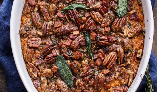 "Get the <a href=""http://www.halfbakedharvest.com/bourbon-sweet-potato-casserole-sweet-n-savory-bacon-pecans/"" target=""_blank"" rel=""noopener noreferrer"">Bourbon Sweet Potato Casserole With Sweet and Savory Bacon Pecans recipe</a> from Half Baked Harvest."