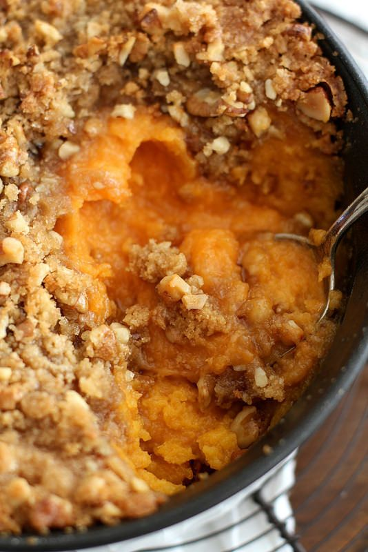 """<strong>Get the <a href=""""http://www.girlversusdough.com/2014/11/20/streusel-topped-sweet-potato-casserole/#_a5y_p=2880149"""" ta"""