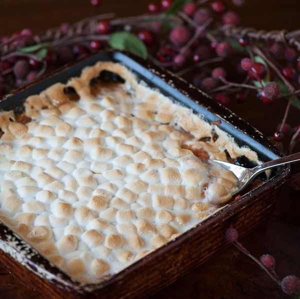 """<strong>Get the <a href=""""http://selfproclaimedfoodie.com/krissys-sweet-potato-casserole/"""" target=""""_blank"""">Marshmallow-Topped"""