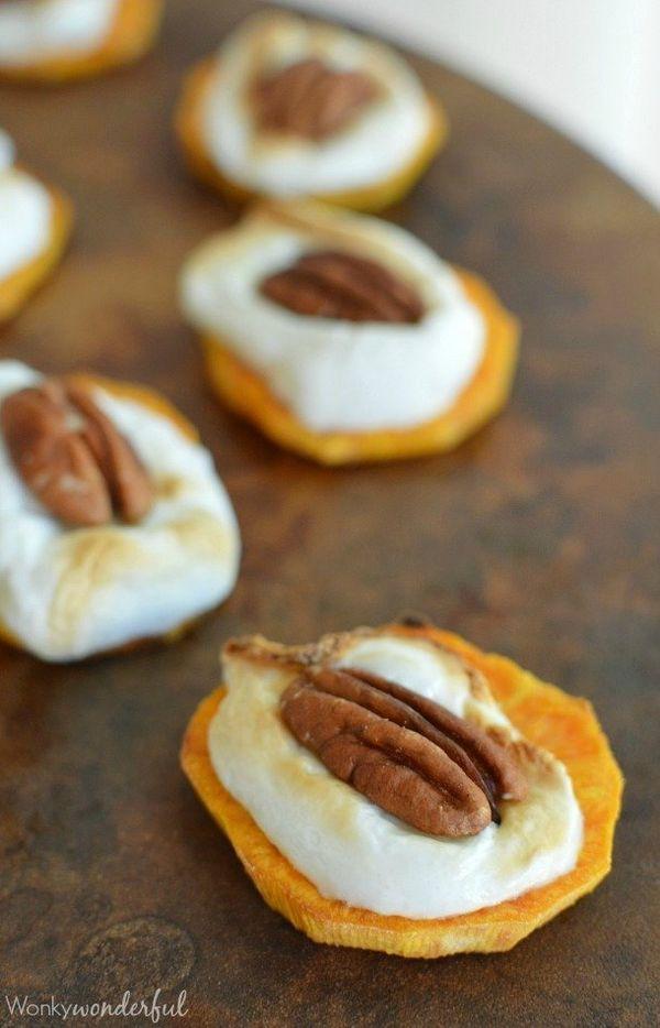 "<strong>Get the <a href=""http://wonkywonderful.com/sweet-potato-casserole-bites/"" target=""_blank"">Sweet Potato Casserole Bite"