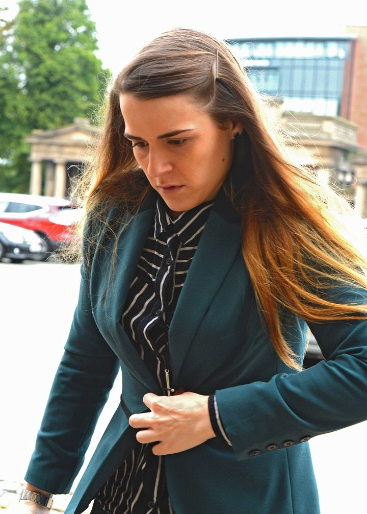 Gayle Newland, pictured earlier this year at Chester Crown Court, wept uncontrollably when the 8-year sentence was announced.