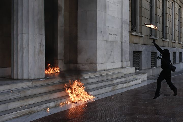 Some bombs struck the frontage Greek central bank.