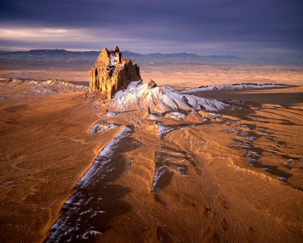 "Shiprock is sacred to the Navajo people. It is a<a href=""http://www.britannica.com/science/volcanic-neck""> volcanic neck</a>,"