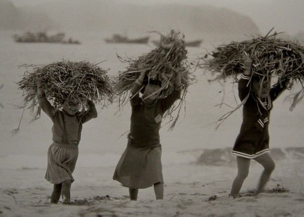 Everyone in the family, including young daughters, pitched in with household chores, such as gathering sticks and straw.