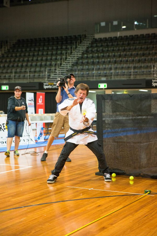 Anthony Kelly of Sydney, Australia, is able to catch a tennis ball speeding toward him at 119.86 mph.