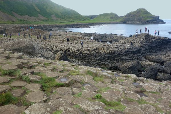 "The Giant's Causeway is a series of about <a href=""http://whc.unesco.org/en/list/369"">40,000 massive black basalt columns</a>"