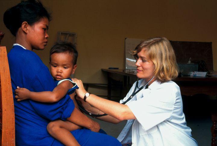 French Humanitarian Organization Medecins Du Monde Doctors Of The World In Kampuchea In Cambodia. Pediatric Exam In Prison.