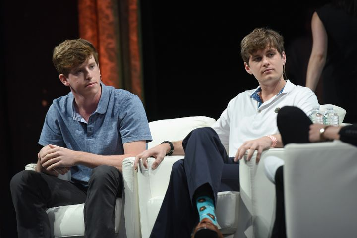 Yik Yak co-founders Brooks Buffington and Tyler Droll speak onstage during TechCrunch Disrupt NY 2015. Civil rights groups are pressuring the company to do more to monitor offensive speech in posts on the app.
