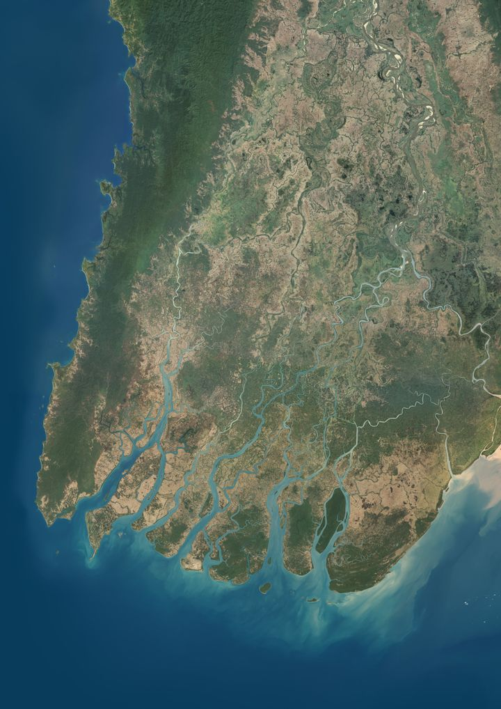 True color satellite image of Irrawaddy Delta in Myanmar. The Irrawaddy River flows into the Bay of Bengal and Andaman Sea. O