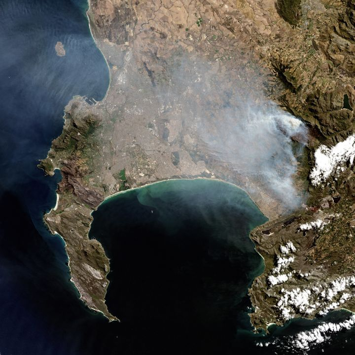 A natural satellite view of the Cape Town wildfires on March 11, 2015, in Cape Town, South Africa. This image gives a closer