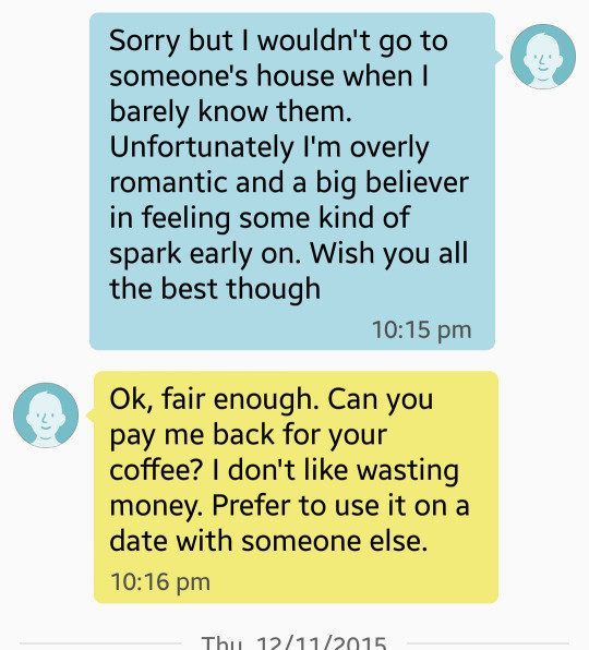 Woman shuts down guy who wanted $5 back for coffee date