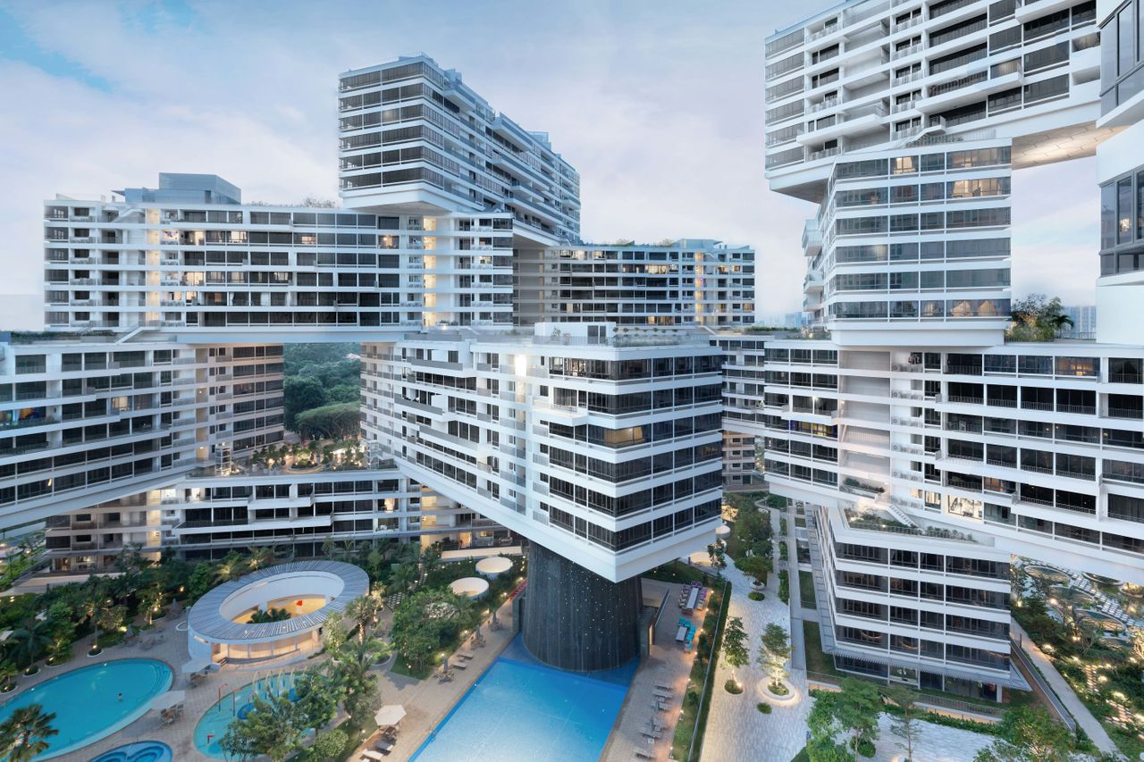 The recently completed housing development will provide 1,040 apartment units of varying sizes in Ole Scheeren, Singapore, stacked in hexagonal arrangements around eight courtyards.