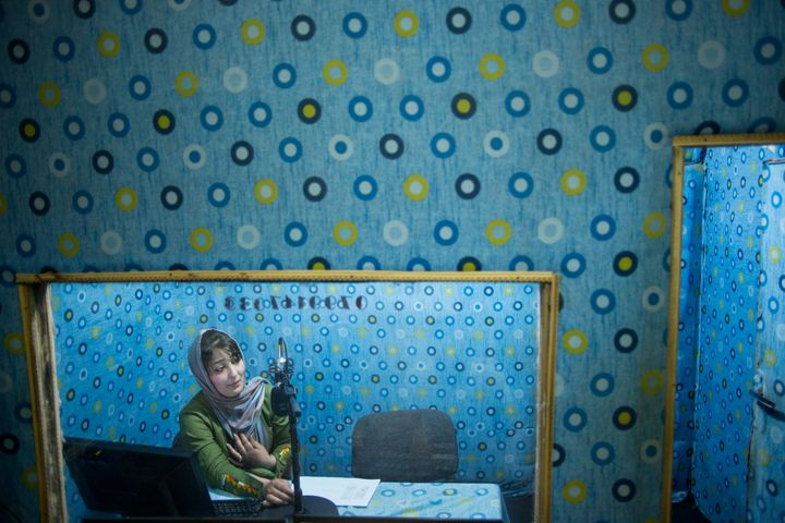 "Soma Hakimsada hosts the morning show ""Nimnega"" on Radio Rabea Balkhi, which targets women in Afghanistan's norther"