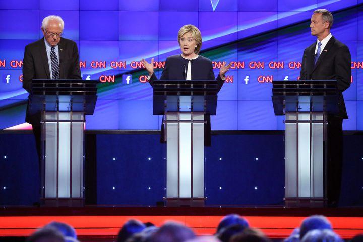 Sen.Bernie Sanders (I-Vt.), former Secretary of State Hillary Clinton and former Maryland Gov. Martin O'Malley at the f