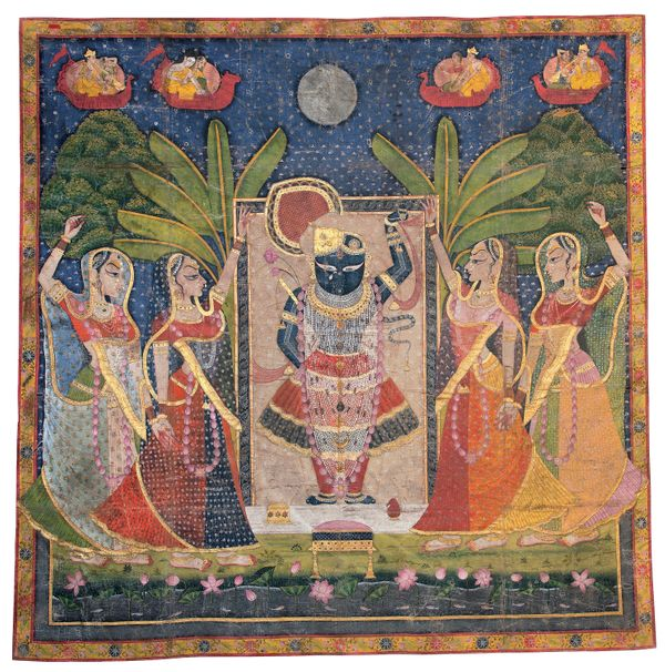 """""""This <i>pichvai</i> for Sharad Purnima is indicative of the style of painting practiced by artists in the princely sta"""