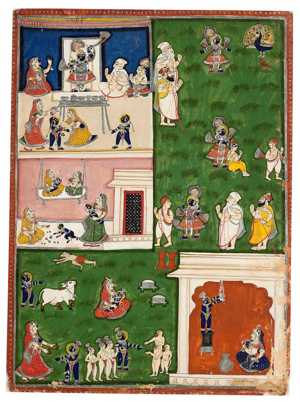 """<i>""""Gval darshan</i>, the third viewing of the day, takes place at the hour when Krishna, as a youthful herder in Fraj,"""