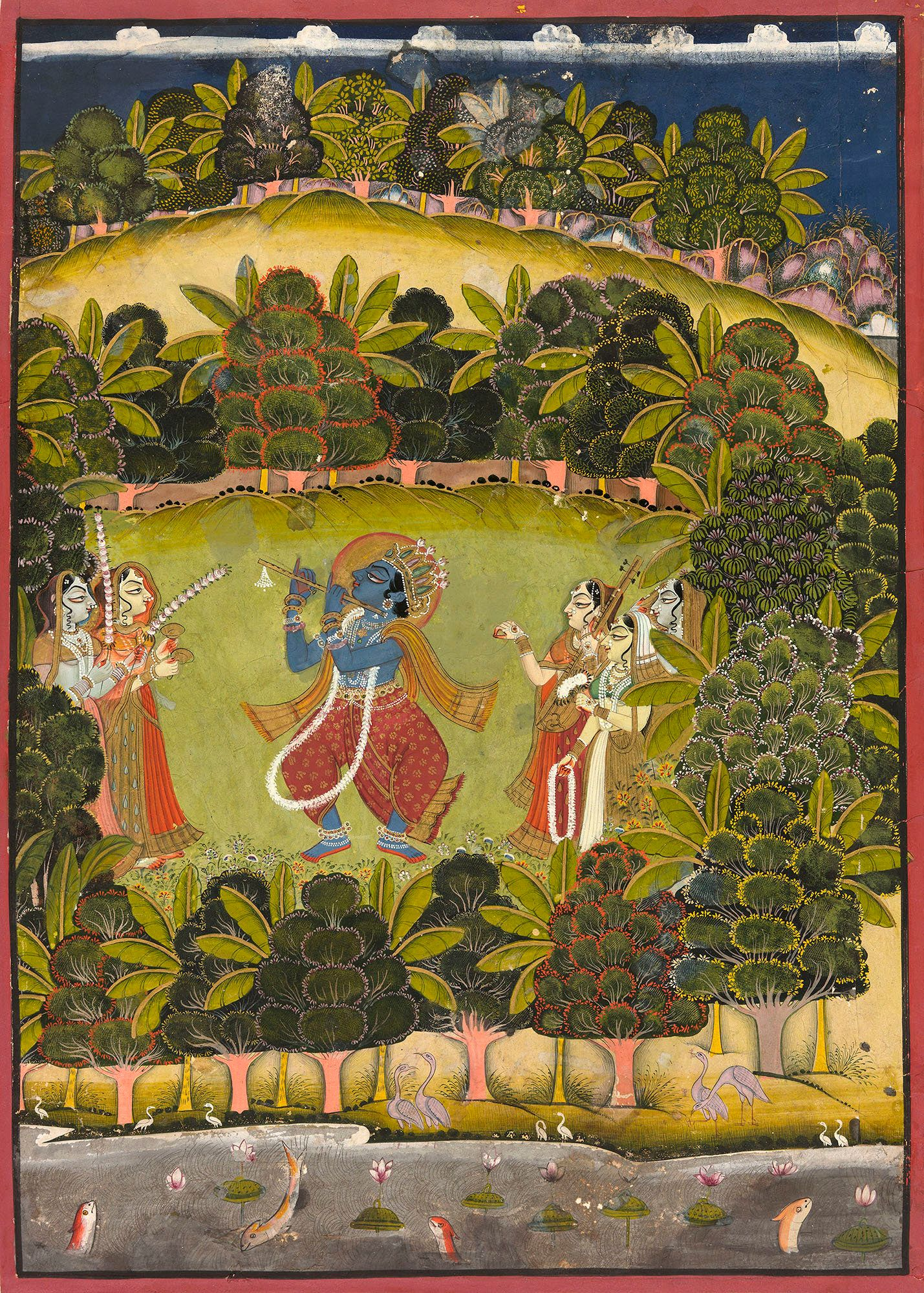 """""""In this large painting, Krishna joyfully presides at the center of a lush forest grove traversed by a stream in the fo"""