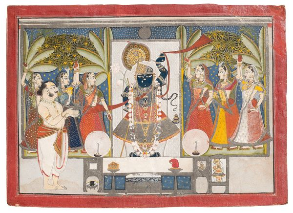 """""""[Shringar of Summer]illustrates a scene that took place in May or June, at the height of the season. Shrinathji is ado"""