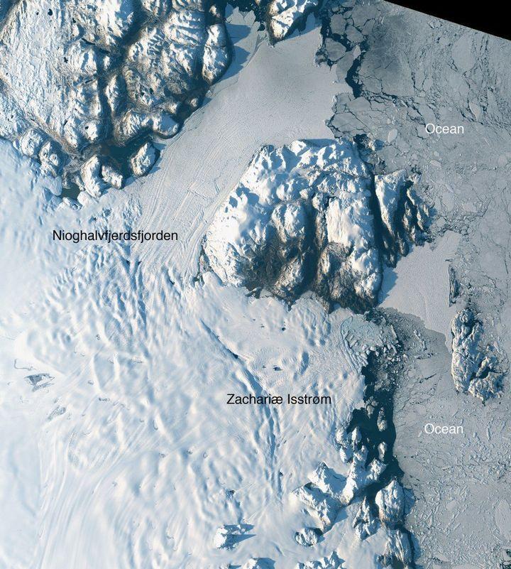 Satellite image taken Aug. 30, 2014, of Zachariæ Isstrøm and Nioghalvfjerdsfjorden glaciers in northeast Greenla