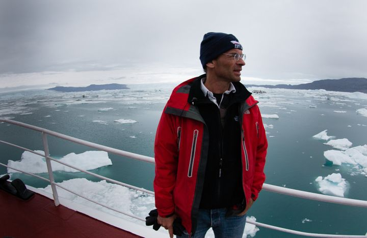 Eric Rignot, chancellor's professor of Earth system science at the University of California, Irvine, stands aboard the