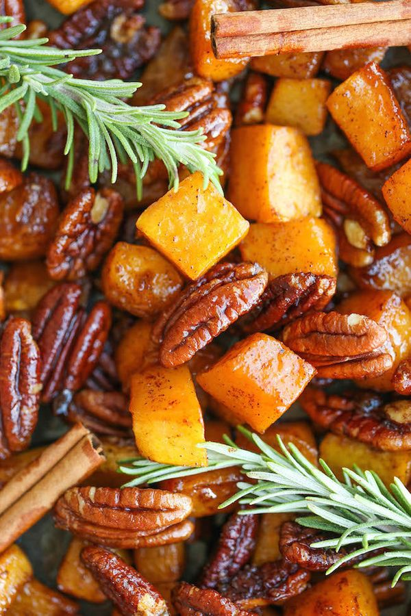 "<strong>Get the <a href=""http://damndelicious.net/2015/10/07/cinnamon-pecan-roasted-butternut-squash/"" target=""_blank"">Cinnam"