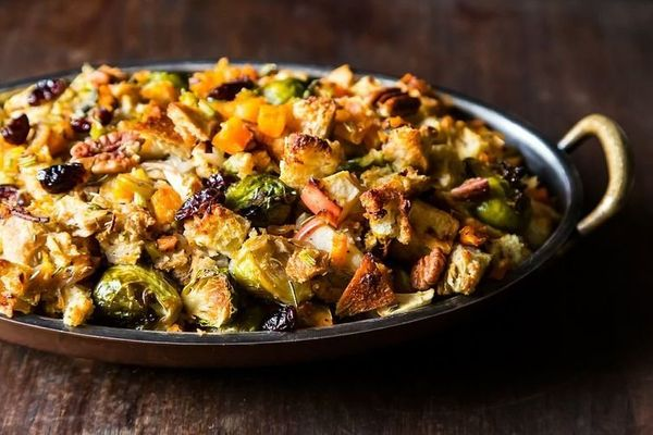 """<strong>Get the <a href=""""http://food52.com/recipes/19730-butternut-squash-brussels-sprout-and-bread-stuffing-with-apples"""" tar"""
