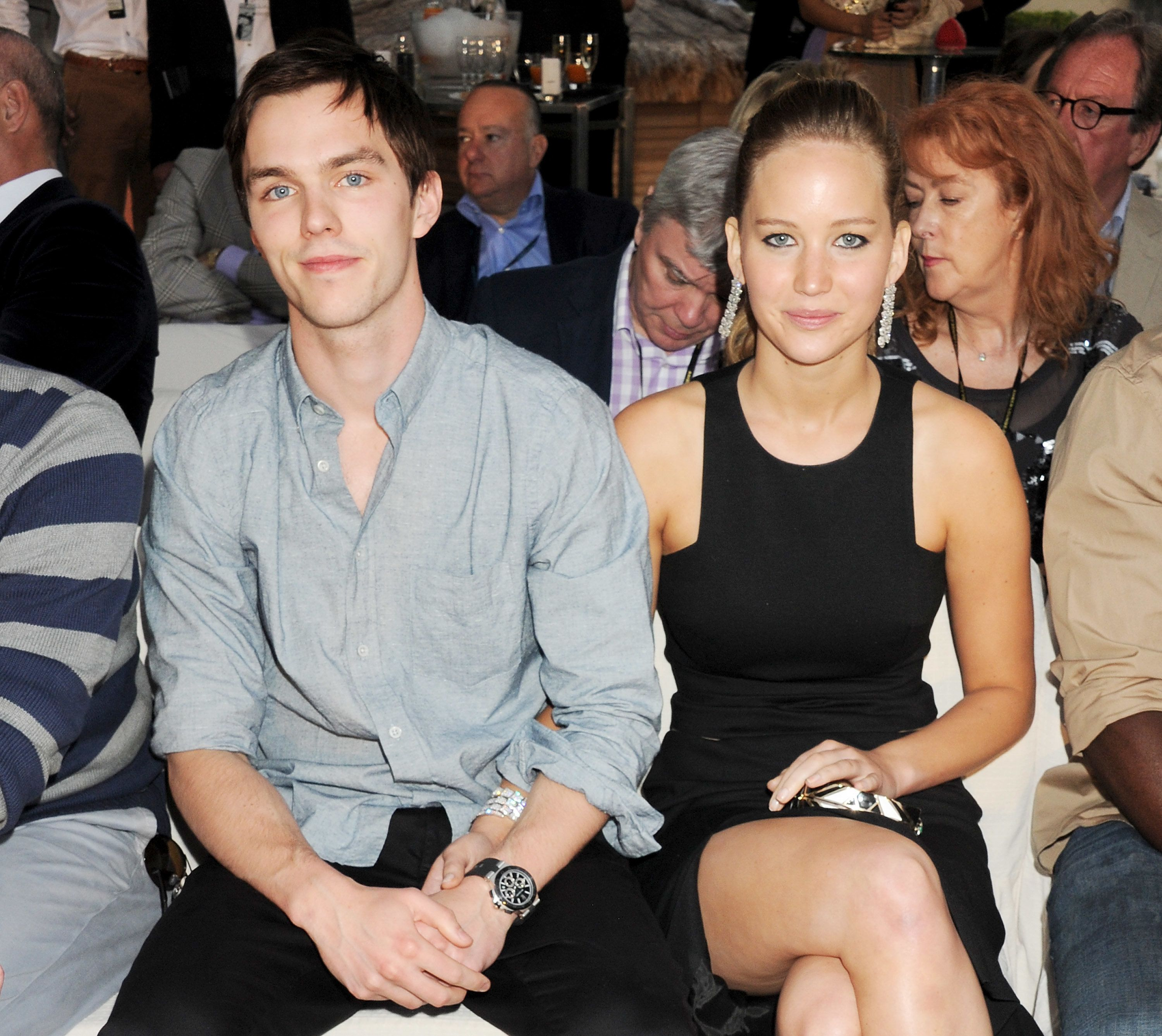 MONACO - MAY 25:  (EMBARGOED FOR PUBLICATION IN UK TABLOID NEWSPAPERS UNTIL 48 HOURS AFTER CREATE DATE AND TIME. MANDATORY CREDIT PHOTO BY DAVE M. BENETT/GETTY IMAGES REQUIRED)  Actors Nicholas Hoult (L) and Jennifer Lawrence attend a cocktail reception during Amber Lounge Fashion Monaco 2012 at Le Meridien Beach Plaza Hotel on May 25, 2012 in Monaco, Monaco  (Photo by Dave M. Benett/Getty Images)