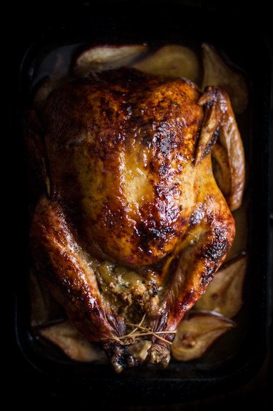 """<strong>Get the <a href=""""http://www.adventures-in-cooking.com/2012/11/roast-turkey-with-pears-sage.html"""" target=""""_blank"""">Roas"""