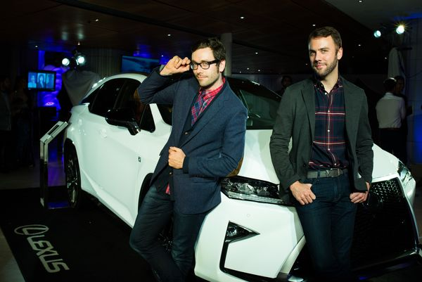 Actors, Kit Williamson and John Halbach at OUT Magazine's OUT100 Celebration presented by Lexus.
