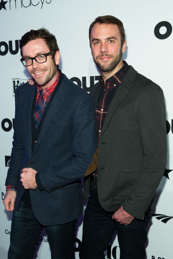 Actor, Kit Williamson and actor, John Halbach walk the red carpet at the OUT100 Gala, presented by Lexus at Guastavino's on W