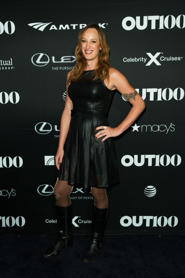 Filmmaker and activist, Jen Richards walks the red carpet at the OUT100 Gala, presented by Lexus at Guastavino's on Wednesday