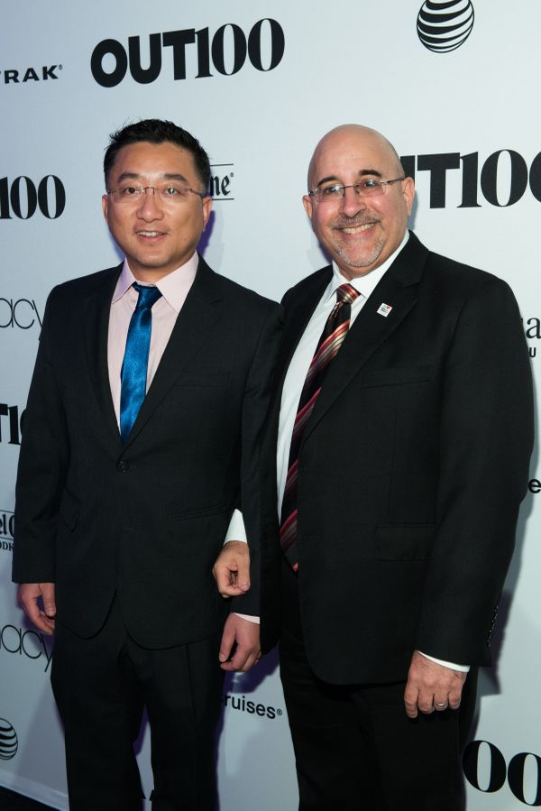 Freedom to Marry's Evan Wolfson and husband walk the red carpet at the OUT100 Gala, presented by Lexus at Guastavino's on Wed