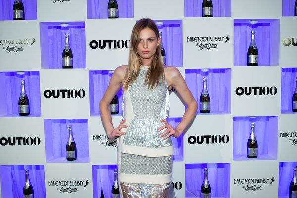 Model, Andreja Pejic walks the red carpet at the OUT100 Gala, presented by Lexus at Guastavino's on Wednesday evening in New