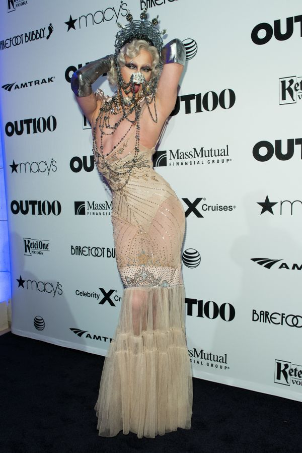 RuPaul's Drag Race Winner, Violet Chachki strikes a pose on the red carpet at the OUT100 Gala, presented by Lexus at Guastavi