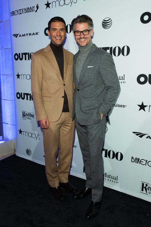 YouTube Creator, Raymond Braun and model, Eric Rutherford walk the red carpet at the OUT100 Gala, presented by Lexus at Guast