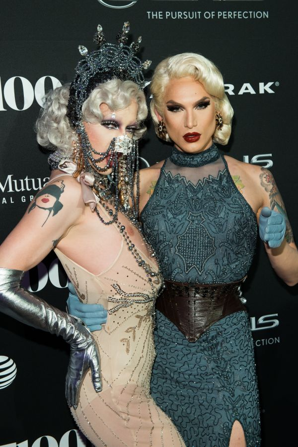 RuPaul's Drag Race winner, Violet Chachki and RuPaul Drag Race contestant, Miss Fame walk the red carpet at the OUT100 Gala,