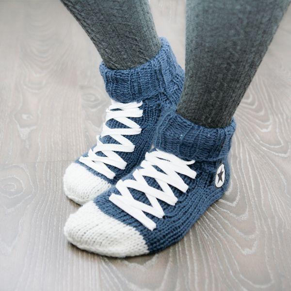"""<a href=""""https://www.etsy.com/listing/209944248/hand-knit-converse-socks-blue-handmade"""">Hand Knit Converse Socks, $45</a>"""